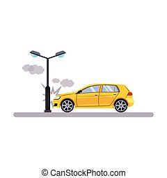 Car and Transportation Issue with a Lamp Vector Illustration...