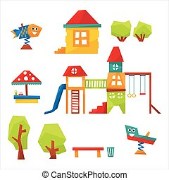 Children Playground Vector Illustration - Children...