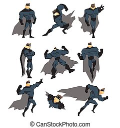 Superhero Actions Set in Comics Style. Vector Illustration...