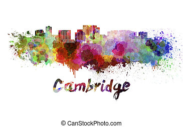 Cambridge MA skyline in watercolor splatters with clipping...