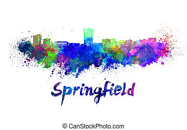 Springfield MO skyline in watercolor splatters with clipping...
