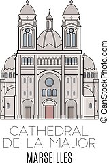 Cathedral De La Major, Marseilles Vector line style