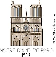 Notre Dame De Paris, Paris, France. Vector line style