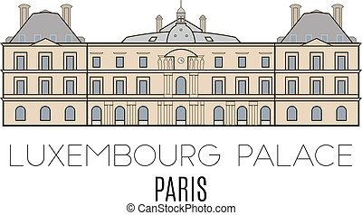 Luxembourg Palace, Paris, France Vector line style
