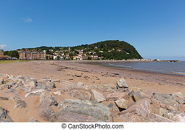 Minehead Somerset England UK beach and seafront towards the...