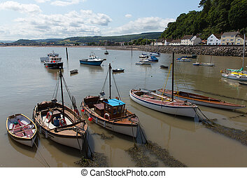 View from Minehead harbour Somerset - Minehead harbour with...