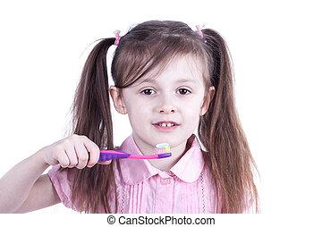 刷, 女孩, 年輕, 她, 牙齒