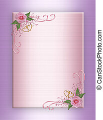 Wedding invitation pink roses on satin