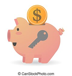 Isolated piggy bank with a key