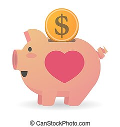 Isolated piggy bank with a heart