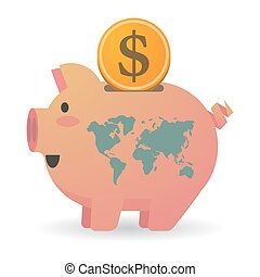 Isolated piggy bank with a world map - Illustration of an...