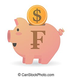 Isolated piggy bank with a swiss franc sign - Illustration...