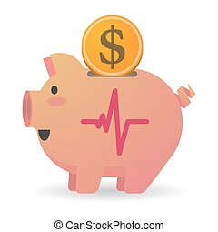 Isolated piggy bank with a heart beat sign