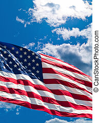 Cloudscape - American Flag Before a Cloudy Blue Sky