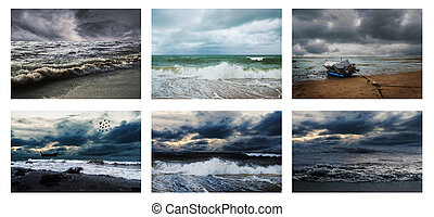 All sea storm dark tone collection on white background