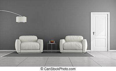 White and gray livingroom
