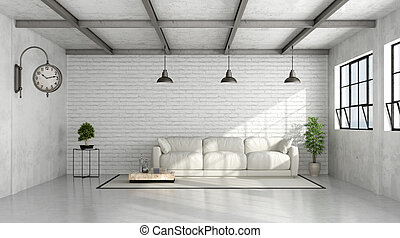 Contemporary Loft interior - Loft interior with white brick...