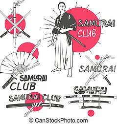 Vector set of samurai labels in vintage style. Oriental...