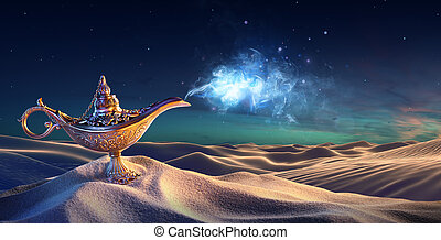 Lamp of Wishes In The Desert - Genie Coming Out Of The...