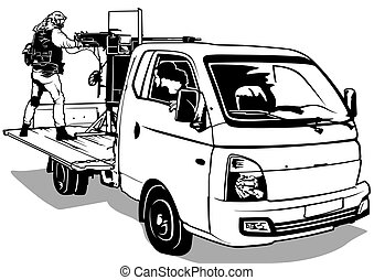 Terrorist with Machine Gun on Pick Up Car - Illustration,...