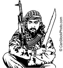 Sitting Terrorist Holding Long Knife and Submachine Gun -...
