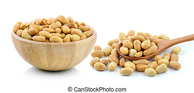 peanuts in a wood bowl on white background