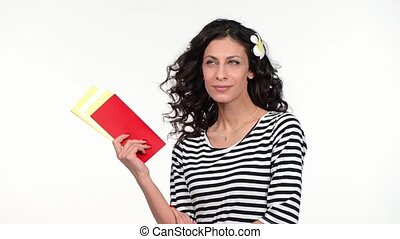 Closeup of woman holding blank tickets - Closeup of lovely...