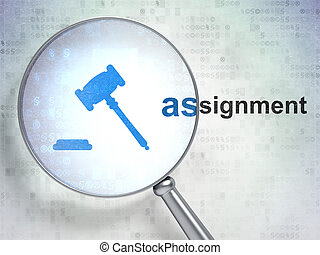 Law concept: Gavel and Assignment with optical glass - Law...