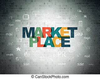 Marketing concept: Marketplace on Digital Paper background -...