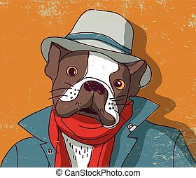 French bulldog pets cute animal in clothing Color vector...