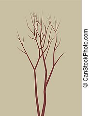 Isolated dead tree. vector illustration