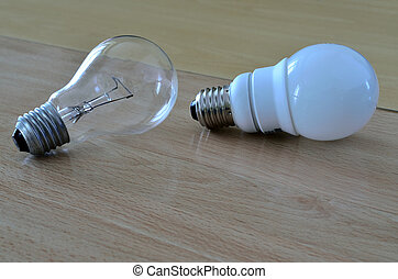incandescent light bulb and compact fluorescent lamp - Old...
