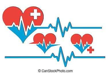 Heart with cardiogram.