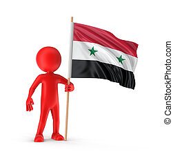 Man and Syrian flag Image with clipping path