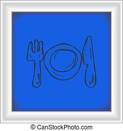 Simple doodle of a place setting - Simple hand drawn doodle...
