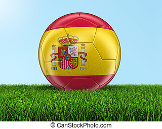 Soccer football with Spanish flag