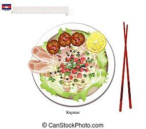 Cambodian, Rijst, uilskuiken, soep, met, Varkensvlees, en,...