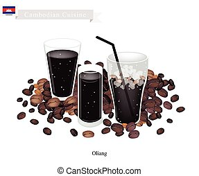 Oliang, Of, Cambodian, black, koffie, wi,
