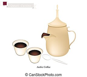 Traditional Arabic Coffee, Popular Dink in Qatar - Qatari...