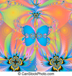 fractal illustration a butterfly and spiral glow