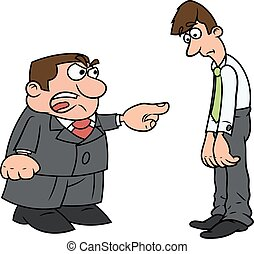 Boss screaming at clerk - Illustration of the angry boss...