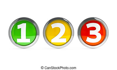 Icons numbers 1 2 3 #2 - Icons numbers 1, 2, 3 (one, two,...