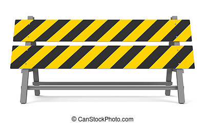 Repair barrier on a white background represents work in...