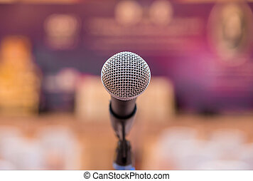 Microphone in meeting room before a conference