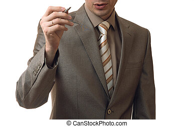 man without head in business suit on white background - man...