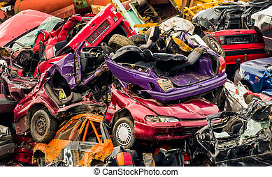 cars on junkyard - old cars in a junkyard.