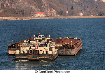 freighter with bulk road, symbolizing shipping, freight,...