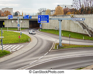 austria, linz, city highway. tunnel for noise reassurance on...