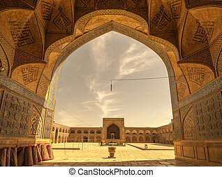 Retro style image of Jameh or Friday Mosque of Isfahan, Iran