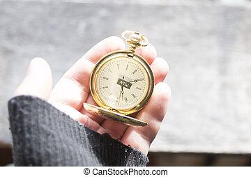 Now, Time concept. Text and pocket watch. - Now text and and...